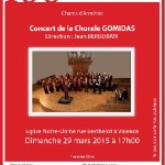 Concert de la chorale Gomidas (Komitas) dimanche 29 Mars